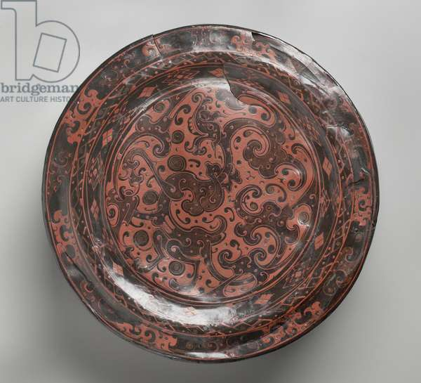 Circular covered box, c.3rd century BC (painted lacquer on wood & fabric core)
