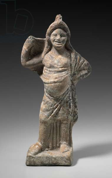 Comic actor as a woman unveiling, Boiotia, 380-330 BC (terracotta)