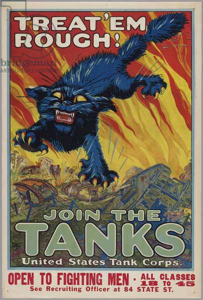 Treat 'em Rough!-Join the Tanks - United States Tank Corps., 1918 (colour litho)