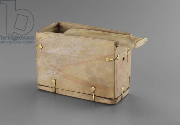 Box with sliding lid, Early Dynastic Period, Dynasty 1–2, 2960–-2649 B.C. (limestone & gold)