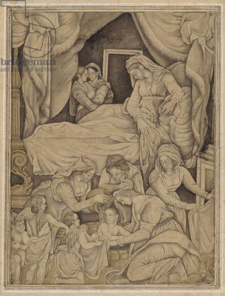 Birth of the Virgin, from Northern India, c.1610 (ink & light wash on paper)