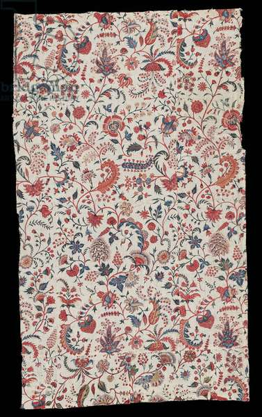 Printed textile panel, 1720–-50 (painted & blockprinted cotton)