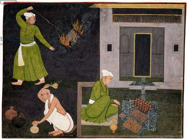 Purifying Rituals, 1735-40, Indian, Pahari, found Jasrota, Punjab Hills, India (opaque watercolour on paper)
