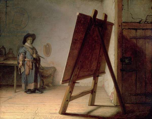 Artist in his Studio, c.1627-28 (oil on panel)