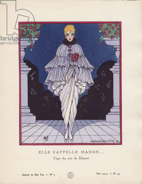 'Elle S'Appelle Manon... - Cape du soir de Doucet', plate 45 from 'Gazette du Bon Ton', Volume I, no.5, May 1914 (pochoir print)