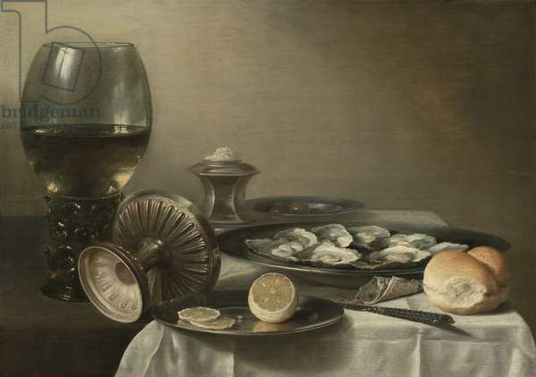 Still Life with Wine Goblet and Oysters, 1639 (oil on panel)