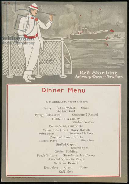 S.S. Zeeland, August 14th 1905, Dinner Menu, 1905 (colour litho)