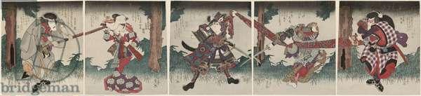 Actors Bandô Mitsugorô III (R), Iwai Kumesaburô II (CR), Onoe Kikugorô III (C), Segawa Kikunojô V (CL), and Ichikawa Danjûrô VII (L), c.1827 (colour woodblock print)