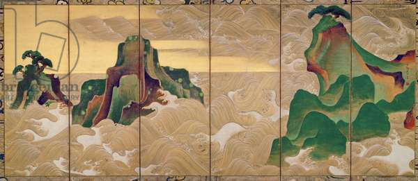 Waves at Matsushima, Edo Period, Japan (ink, colour & gold on paper)