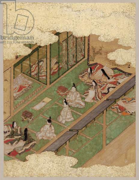 The Picture Contest from the Tale of Genji (ink, colour & gold on paper)