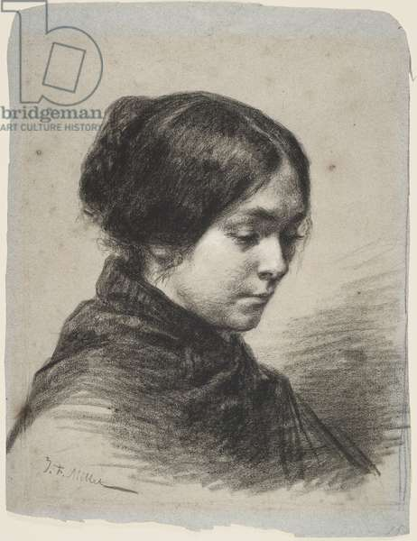 Madame J-F Millet, c.1848-49 (black crayon, with white on paper)
