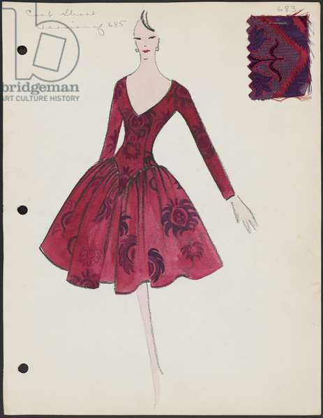 Page from sketchbook, Spring 1960, 1960 (paint, pen & ink on paper with fabric)