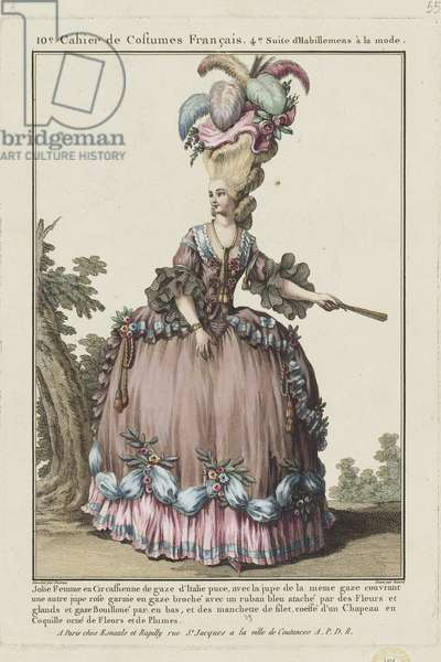 Pretty Woman in a Circassienne of Italian gauze, from 'Gallerie des Modes et Costumes Francais', engraved by Etienne Claude Voysard, published by Esnauts et Rapilly, Paris, 1778 (hand-coloured engraving)