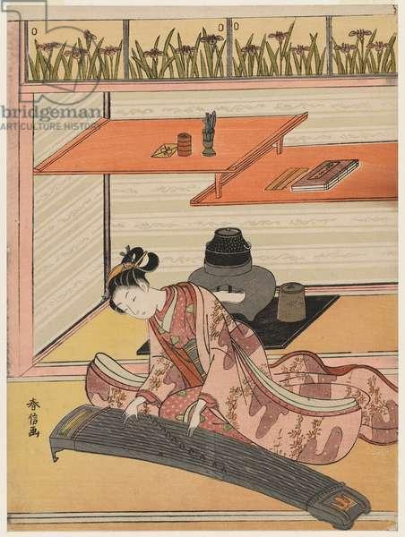 The Koto Player, c.1767-68 (colour woodblock print)