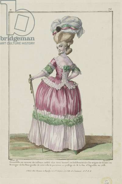 Young Woman in a taffeta caraco, from 'Gallerie des Modes et Costumes Francais', engraved by Etienne Claude Voysard, published by Esnauts et Rapilly, Paris, 1778 (hand-coloured engraving)