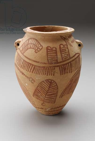Jar with painted boats, Predynastic Period, Naqada II (Gezean) 3650–-3300 B.C. (marl clay)