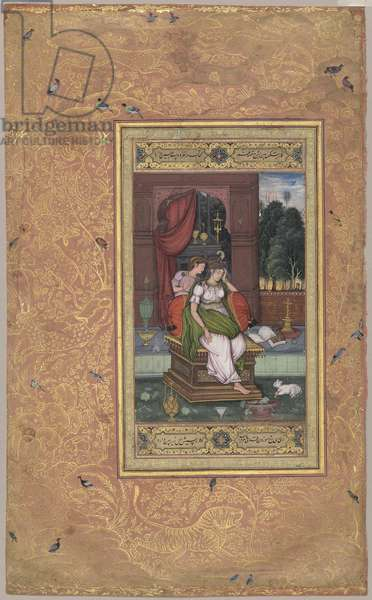 Melancholic Woman and Attendant, from Northern India, c.1590 with later border (opaque w/c & gold on paper)