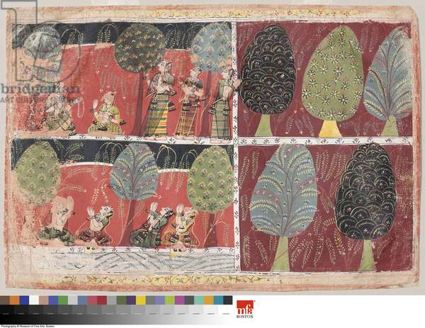 Radha and the Gopis by the banks of the Jumna, c.1700 (w/c on paper)