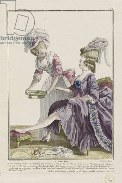 The Absent-Minded Woman, from 'Gallerie des Modes et Costumes Francais', engraved by Nicolas Dupin, published by Esnauts et Rapilly, Paris, 1778 (hand-coloured engraving)
