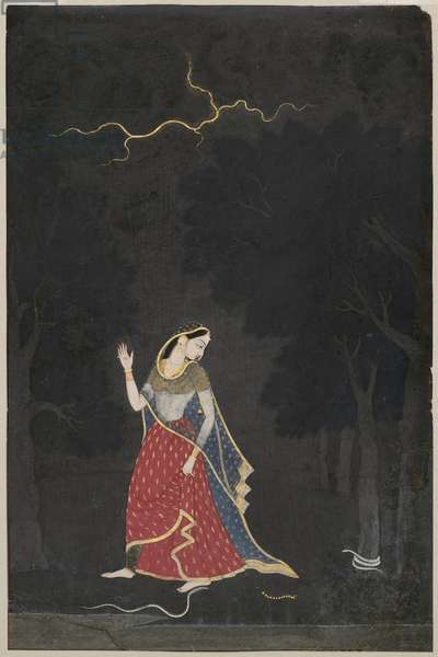 The Heroine Who Goes to Meet Her Lover at an Appointed Place, from the Punjab Hills, c.1800 (opaque w/c & gold on paper)