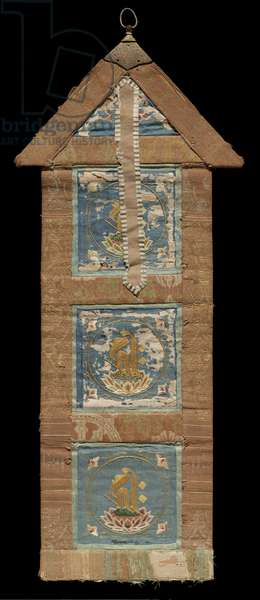 Ritual banner with decoration of Sanskrit characters, 14th-15th century (silk)