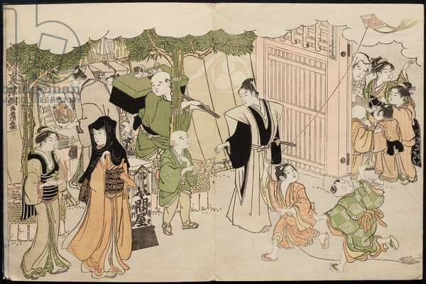 Saishiki mitsu no asa (Colours of the Triple Dawn), 1787 (colour woodblock print)