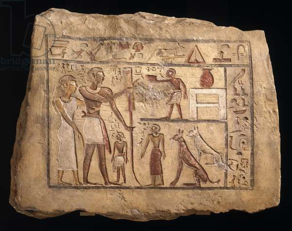 Stele of the Nubian soldier Nenu, First Intermediate Period to Middle Kingdom (painted limestone)