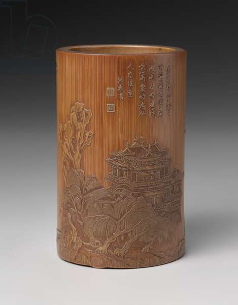 Brushpot with decoration of figures in landscape and inscribed poem, early 17th century (bamboo)