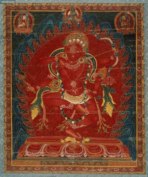 Goddess Karukulla (distemper on cotton, mounted on silk brocade)