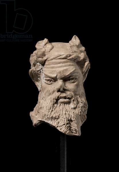 Head of a bearded satyr figurine (terracotta)