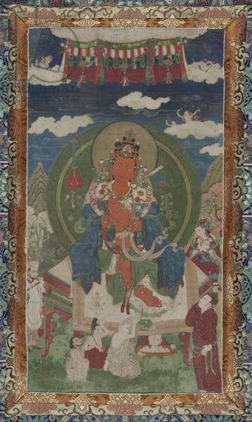 The First Vidyadhara (Wisdom-Holder) King of Shambhala, Manjushri Yashas (Beautiful Radiant Fame), c.1650-99 (distemper on cotton)