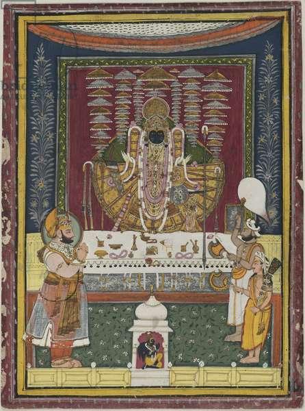 Shambhu Singh of Mewar worshipping an icon, from Nathadwara, Rajasthan, c.1800 (opaque w/c, gold & silver on paper)