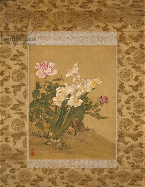 Bird beneath a Narcissus Plant and Blossoming Rose Bush, Qing Dynasty, c.1760 (ink & colours on silk)