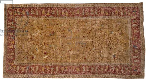 Hunting carpet, c.1530 (silk warp and weft with silk knotted pile, with supplementary metal-wrapped patterning wefts)