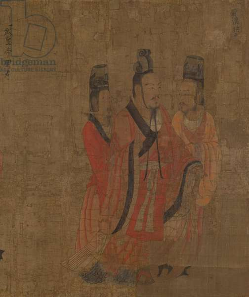 Detail of 'The thirteen emperors', Tang Dynasty (ink & colour on silk)
