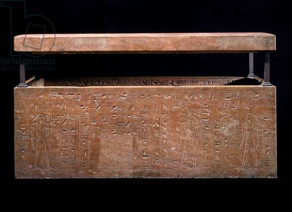 Sarcophagus of Queen Hatshepsut recut for her father Thutmose I, New Kingdom, Dynasty 18, reign of Hatshepsut, 1473-–1458 B.C. (painted quartzite)