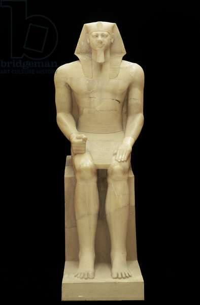 Colossal statue of King Menkaura, Old Kingdom, Dynasty 4, reign of Menkaura, 2490–-2472 B.C. (travertine)