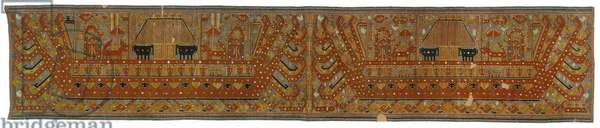 Ceremonial hanging (palepai), mid-19th century (cotton plain-weave ground with cotton discontinuous supplementary patterning wefts)