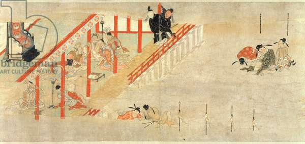 Minister Kibi's Trip to China, Heian Period (ink, colour & gold on paper) (detail)