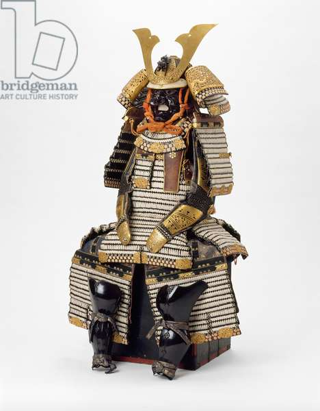 Suit of Armour, 18th-19th century (metal, lacquered iron & silk brocade)