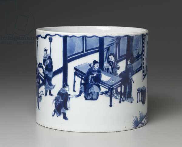 Brush pot with blue-and-white decoration of Tang dynasty stories (porcelain)