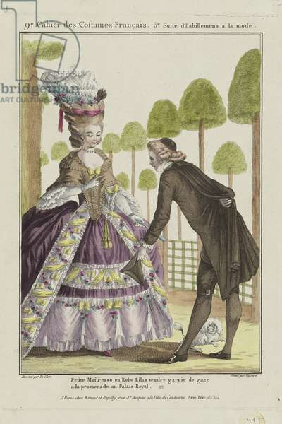 Woman in a Lilac Dress, from 'Gallerie des Modes et Costumes Francais, 9e Cahier des Costumes Francaises, 3e Suite d'Habillemens de Femmes a la mode', engraved by Etienne Claude Voysard, published by Esnauts et Rapilly, Paris, 1778 (hand-coloured engraving)