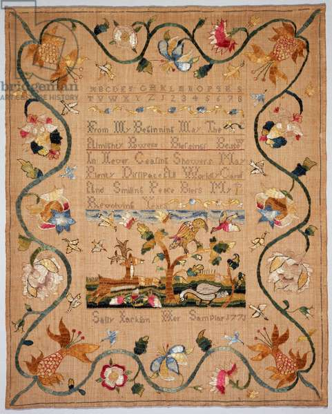 Sampler, 1771 (linen plain weave, embroidered with silk in cross, split, French knot & stem stitches)