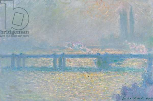 Charing Cross Bridge (overcast day), 1900 (oil on canvas)