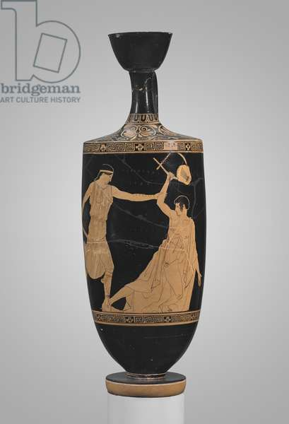Oil flask (lekythos) depicting the death of Orpheus, Athens, c.450-440 BC (ceramic)