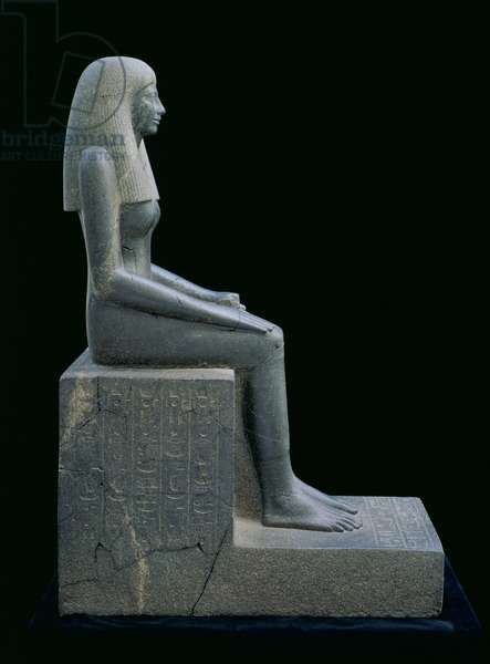 Statue of Lady Sennuwy, probably for Tomb of Djefaihapu, Asyut, Egypt, found in Royal Tumulus K III, Kerma, Nubia, Sudan, Middle Kingdom, reign of Senwosret I, 1971-26 BC (grandiorite)