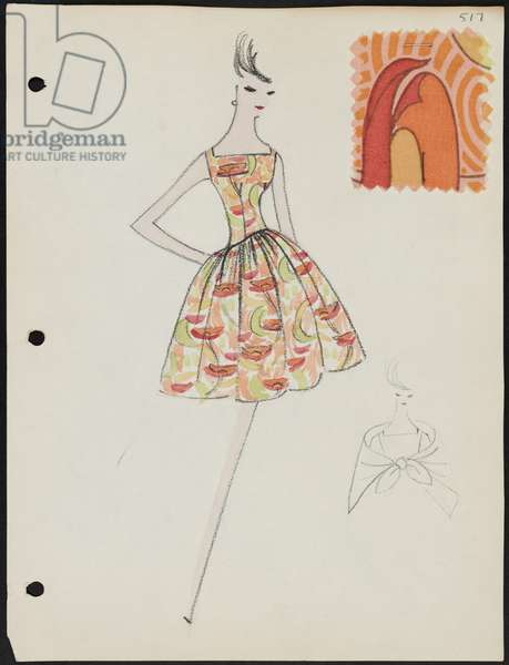 Page from sketchbook, Spring 1961, 1961 (paint & pencil on paper with fabric)