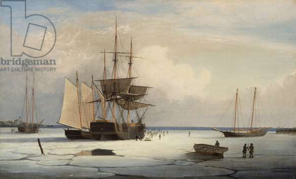 Ships in Ice off Ten Pound Island, Gloucester, c.1850 (oil on canvas)