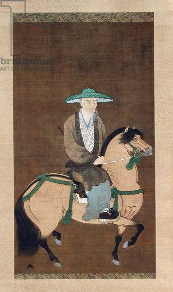 Portrait of Sogi (1421-1501) Japanese, Muromachi Period, 1st half of 16th century (hanging scroll: ink & colour on silk)