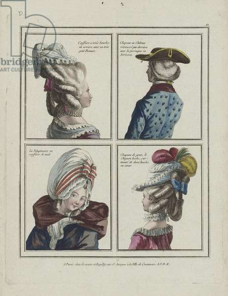 Plate d21 from 'Gallerie des Modes et Costumes Français. 4e. Cahier des Costumes Français pour les Coeffures en 1777 et 1778', 1778 (hand-coloured engraving)